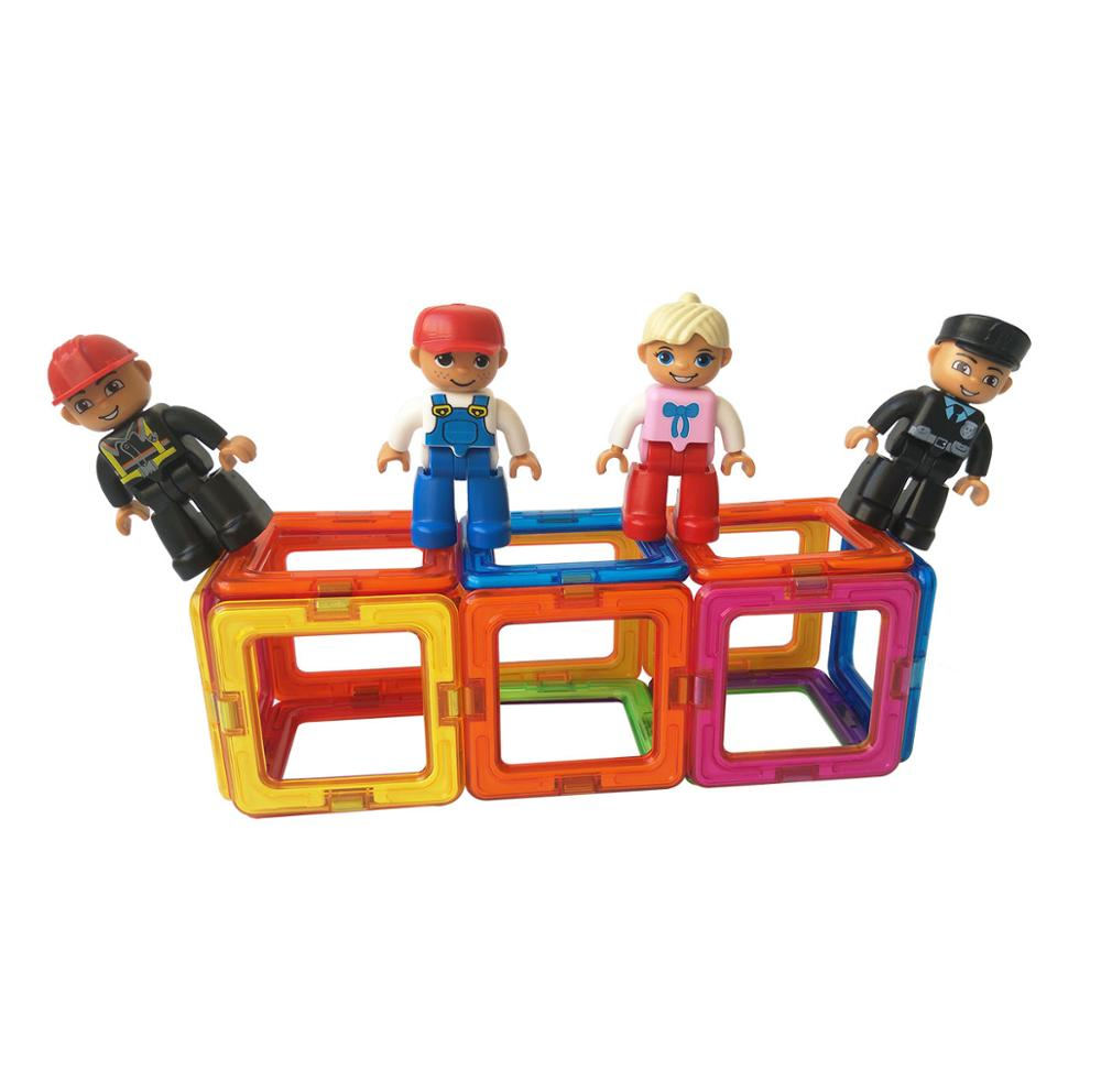 Magplayer Magnetic Figurines Toys Peoples Play People Magnetic Building Tiles Expansion Pack Toys for <strong>Kids</strong>