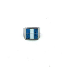 Fashionable Silver Plated Turquoise Expendable Stainless Steel Ring Design