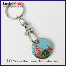high quality custom souvenir metal coin holder keychains made in china
