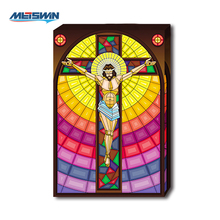 Christian Theme Jesus On The Cross Mosaic Glass LED lighting Canvas Painting For Home Decor and Gift