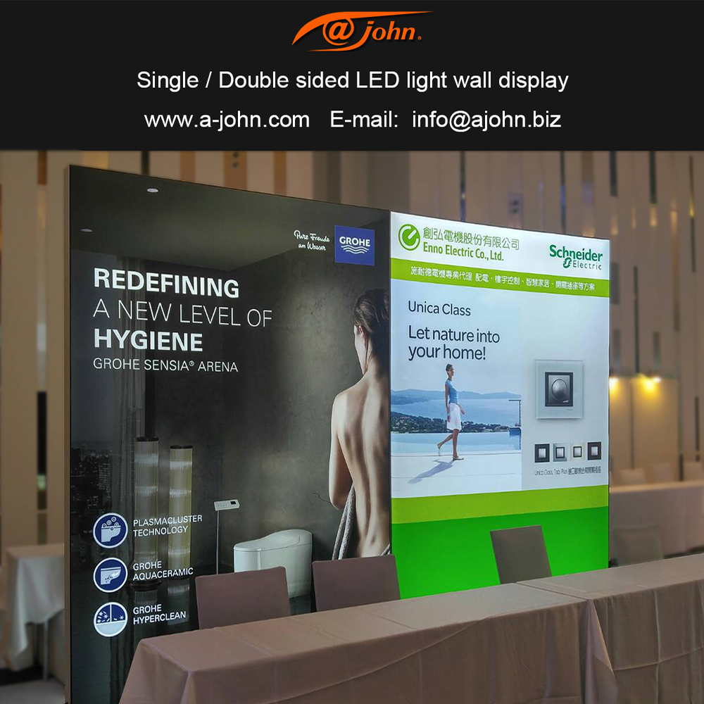 AJOHN TAIWAN Tension fabric Trade shows light box curved frame aluminum advertising display in exhibition