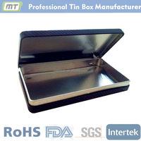 rectangular tin cigar box with hinge lid