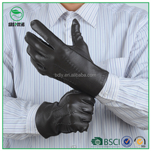 Mens sheepskin leather working gloves with wool lining