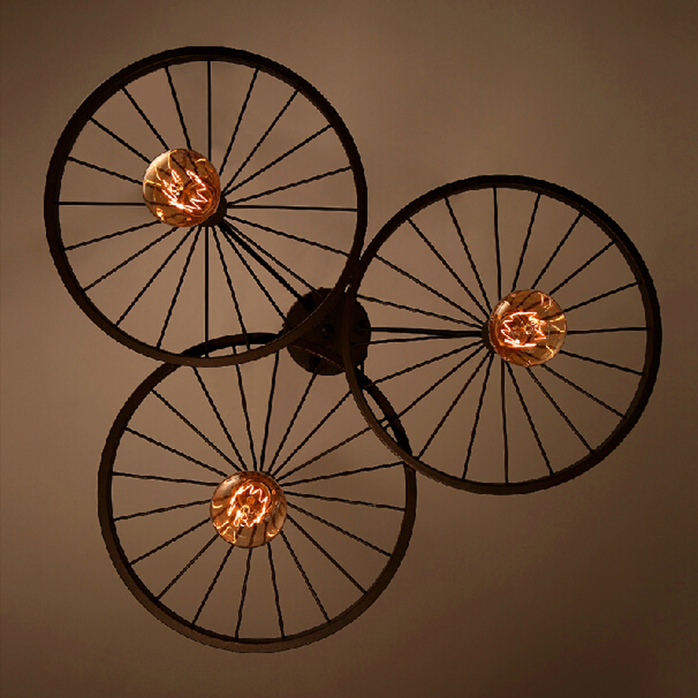 Vintage industrial style rustic iron carriage wheel large pendant lamp with e27 edison bulb light