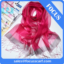 plain colors long thin silk scarf