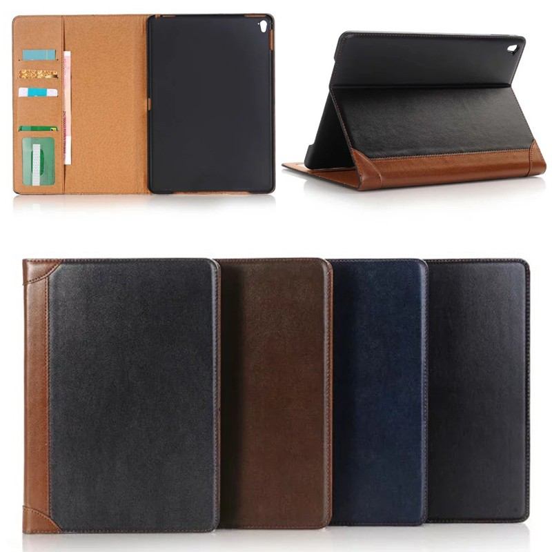 notebook style leather case with card slots for ipad pro 9.7'' with wake up /sleep function , for ipad pro9.7 case leather