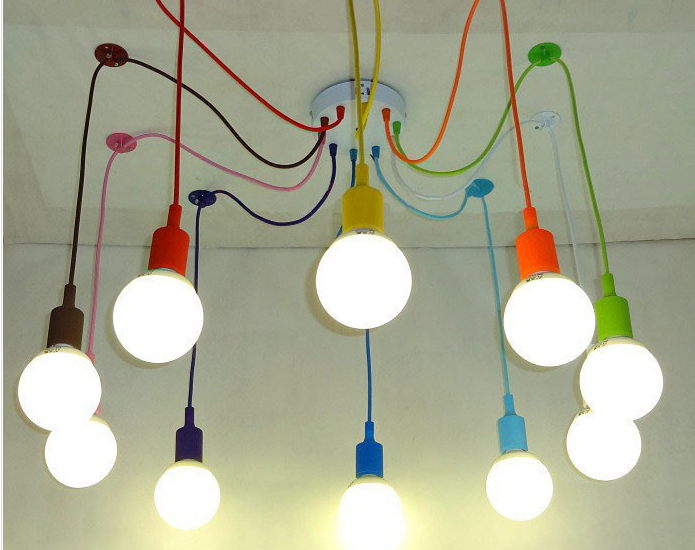 Silicone Colorful Pendant Lights DIY Multi-color E27 Bulb Holder Lamps Home Decoration Lighting 4-12 Arms Fabric Cable Pendants
