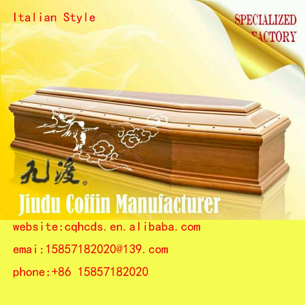 High quality best Selling European style cheap wooden coffin JDE-01 and OEM