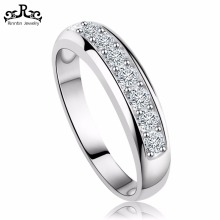 Rhodium/ Rose Gold Plated Wedding Band Ring For Woman Crystal Silver Ring RIR24