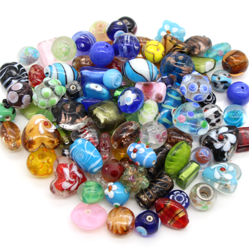 Murano lampwork glass beads mix in bulk wholesale for jewelry making DIY