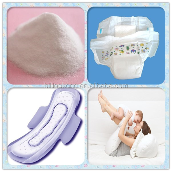 SAP super absorbent polymer for baby diapers/sanitary napkin/ sanitary compound paper