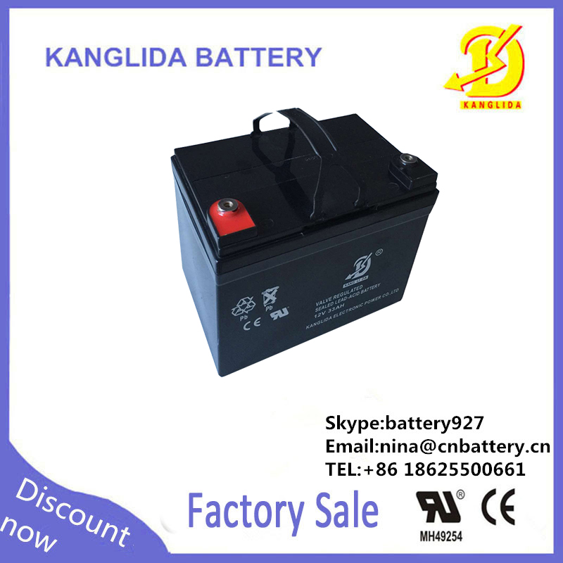 33ah lead acid wind system battery, 12v rechargeable storage battery