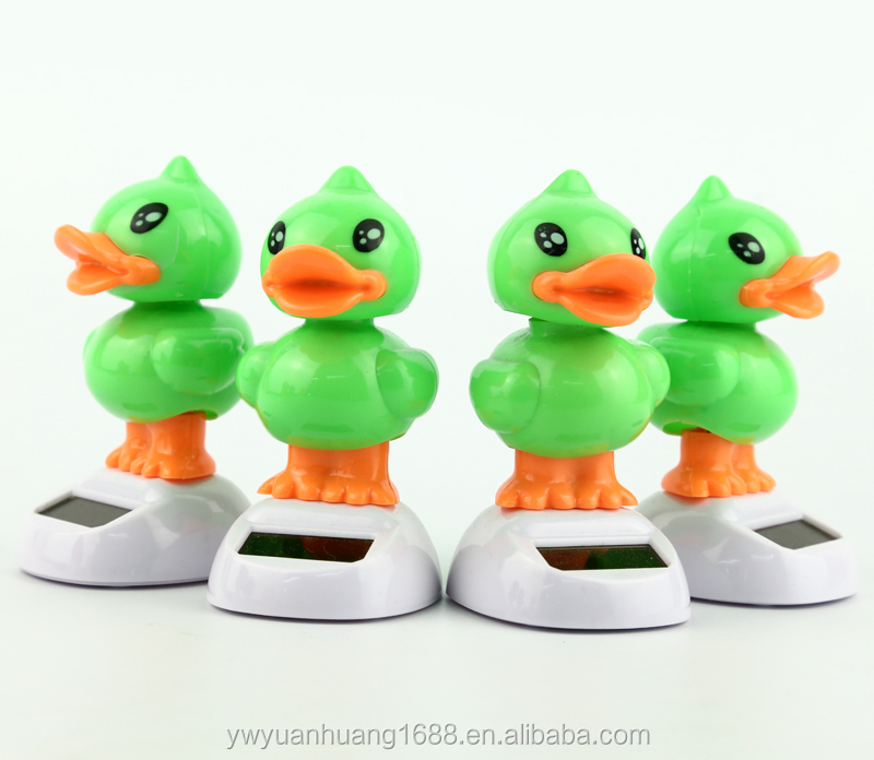 solar toys for car decoration solar powered swing flip flap dancing duck, car decorative gift sun doll factory wholesale