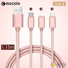 Mocolo Multi Nylon Braided Micro USB Cable High Speed USB 2.0 Universal USB 3 in 1 charging cable for iPhone 6 6s 7plus