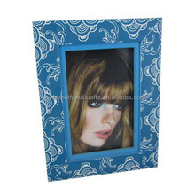 Freinds gift double layer nice pattern blue wooden picture frame