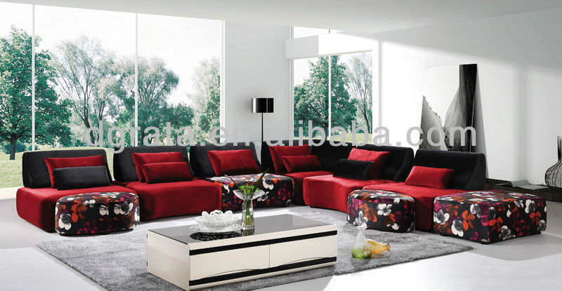 2013 new design fabric corner sofa in wooden frame is made for living room
