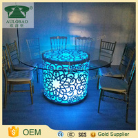 China wholesale led light up low price dining table and chair