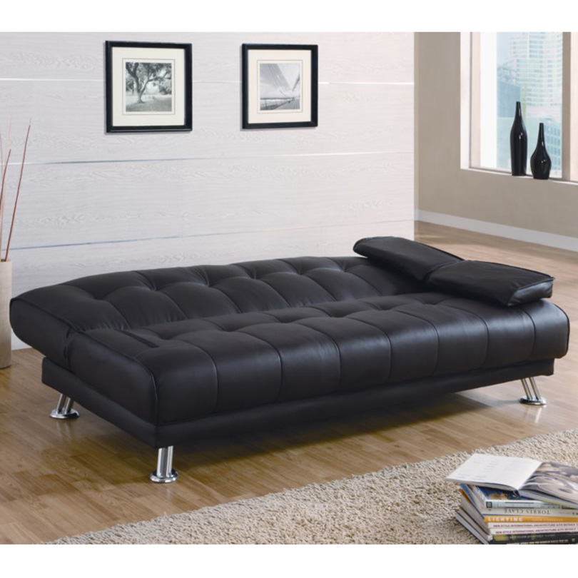 Space saving wooden frame european style leather sofa bed modern