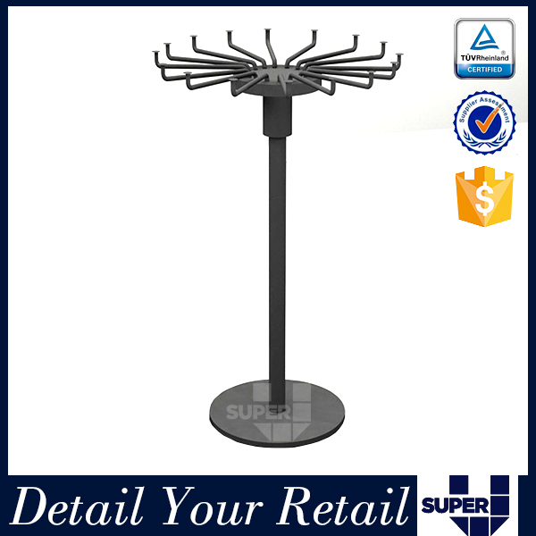 Customized round metal hanging clothes display racks for retail shop