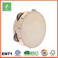 Kids Musical Instrument Toy Wood Tambourine with Leather Lambskin Drum
