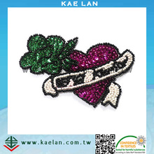 Custom heart shape design sequin embroidery patch