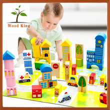 62 Grains Urban Traffic Scene Blocks Wooden Children Big Barrel Educational Toys Large Intelligence Building Blocks Sy