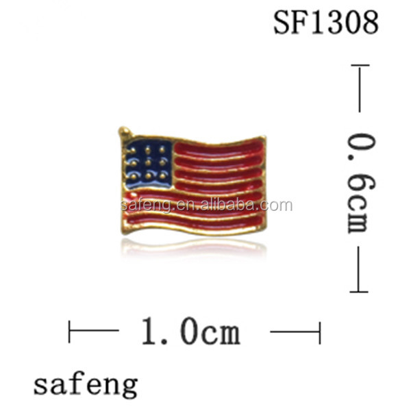 American flag 3d alloy nail art for USA market SF1308