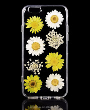 Top Quality Handmade Phone Case Dry Flower Mobile Phone Shell TPU Case for iPhone 6 / 6s with Daisies