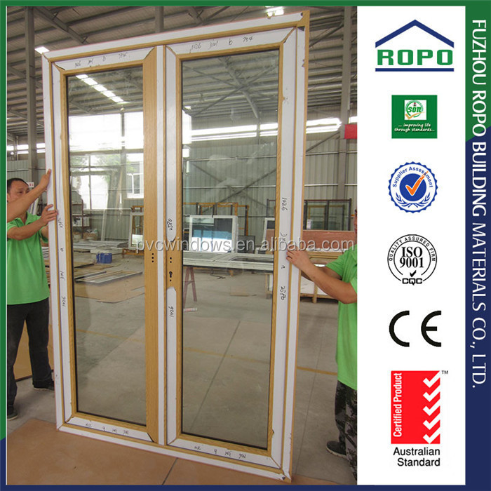 Double panels clear glass french door awning