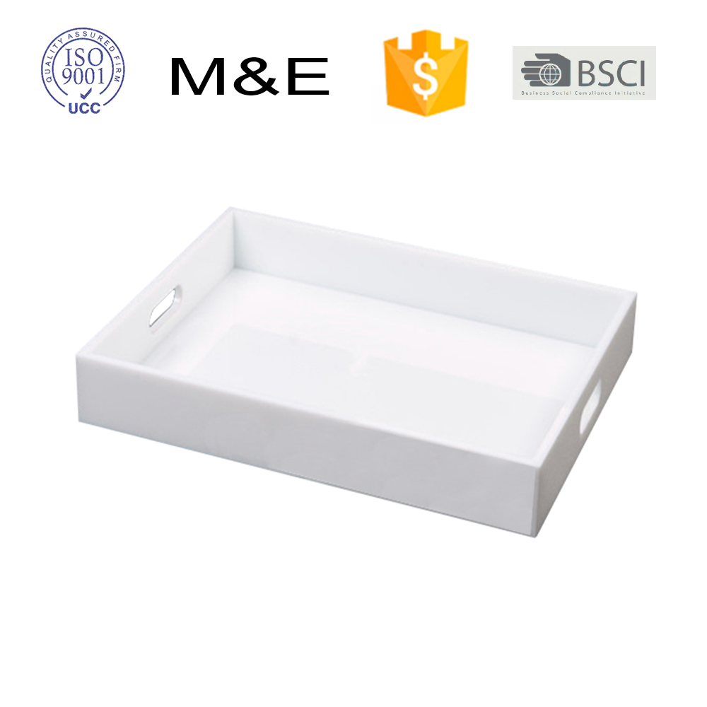 Wholesale Low Price Lucite Acrylic Tray White Tray Hotel Serving Tray