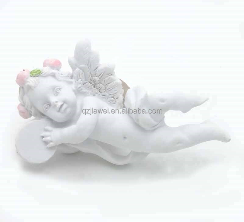 New arrival mini size resin angel playing drums figurine