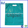 Customized size and color die cut handle polyethylene bags, dark green plastic handle bags