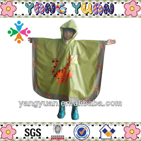 Childrens style Waterproof PVC Tiger Cartoon Poncho