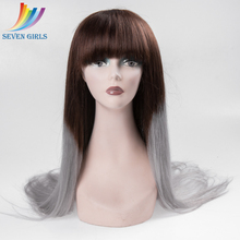 Wholesale Malaysian Hair 4/Grey Ombre Color 26 Inches Long Human Hair Lace Front Wig
