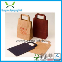 Hot sell recyclable flat handle kraft paper bag with low price