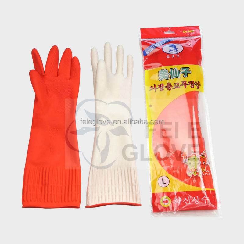 100g L 38cm red colour unlined household goods cleaning gloves <strong>manufacturer</strong>