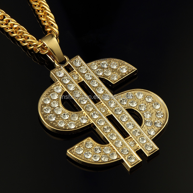 halloween Pimp Gangster Fancy Dress Old School Hip Hop small Dollar Sign Gold Necklace