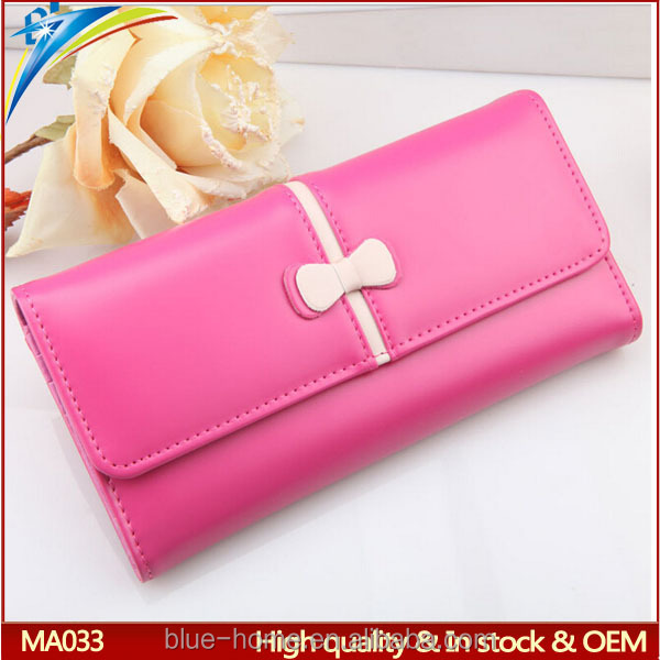 Professional factory oem custom lady long clutch wallet Cute cheap multi fold purses with bowknot