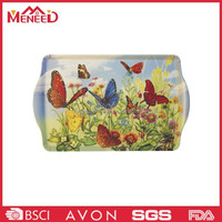 Butterfly printed rectangle hotel utensil cheap plastic melamine custom serving tray