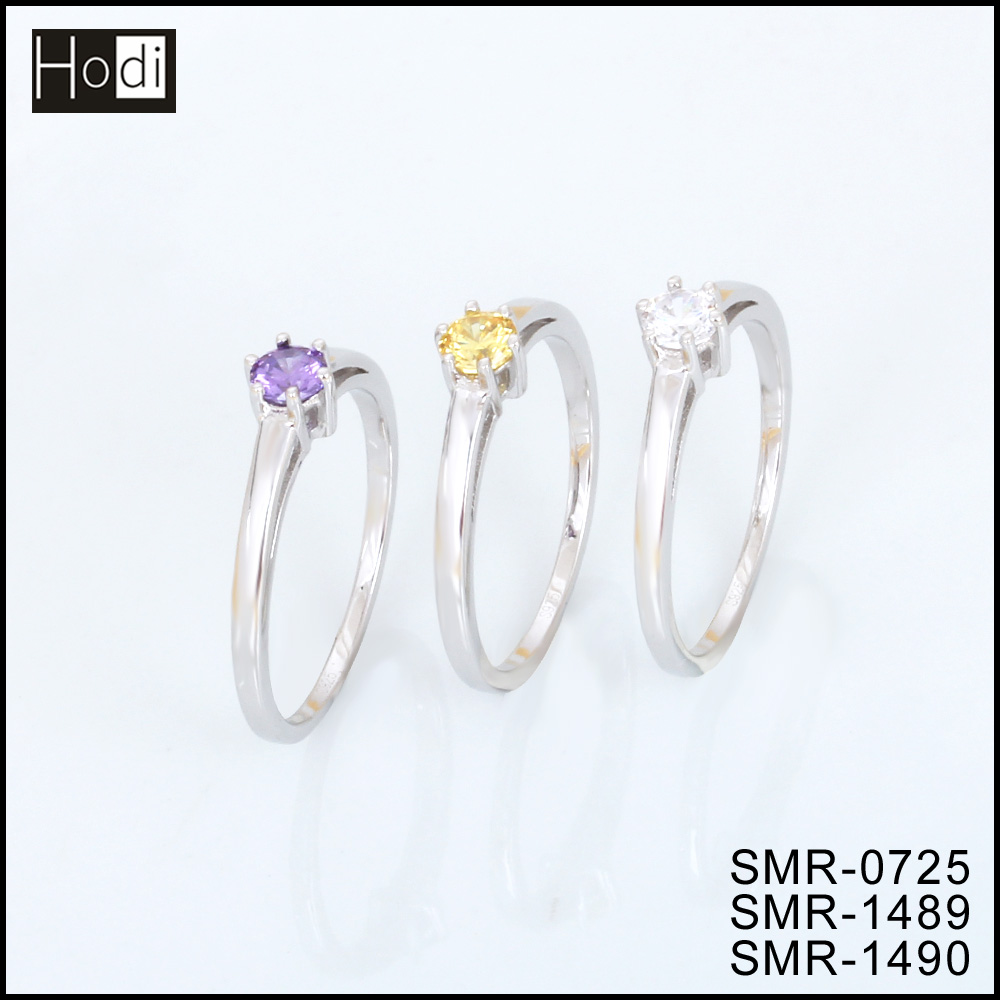 Excellent Different Colors Single Stone Genuine Value 925 Sterling Silver Wedding Engagement Ring Designs