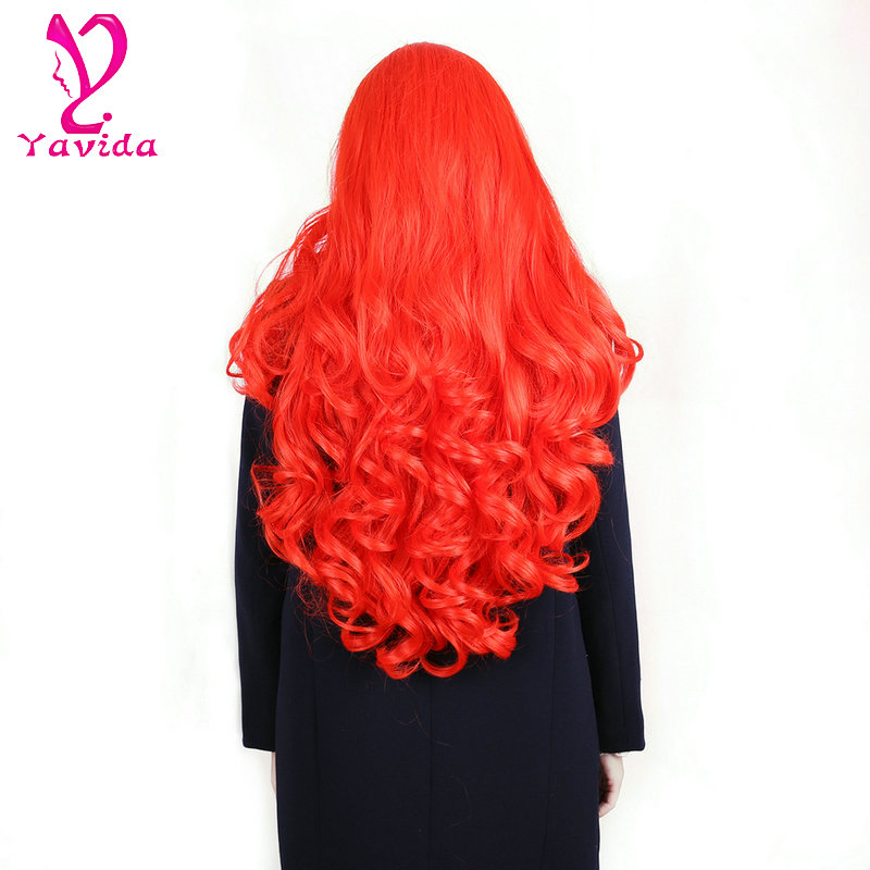 100% High Quality Heat Resistant Fiber Carnival Cosplay Wig Fashion Beautiful Christmas Party Wig red wig