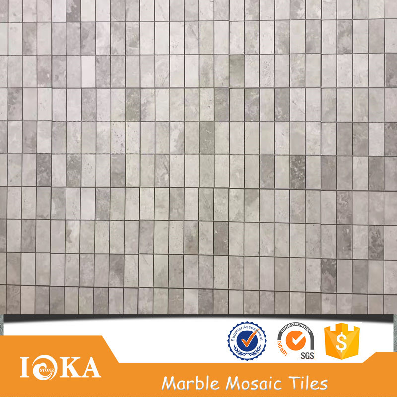 white and grey marble mosaic tiles