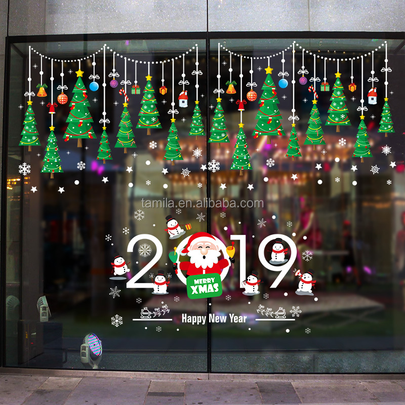 Cartoon Home shop decor Merry Christmas Window Clings Tree Removable Wall Sticker