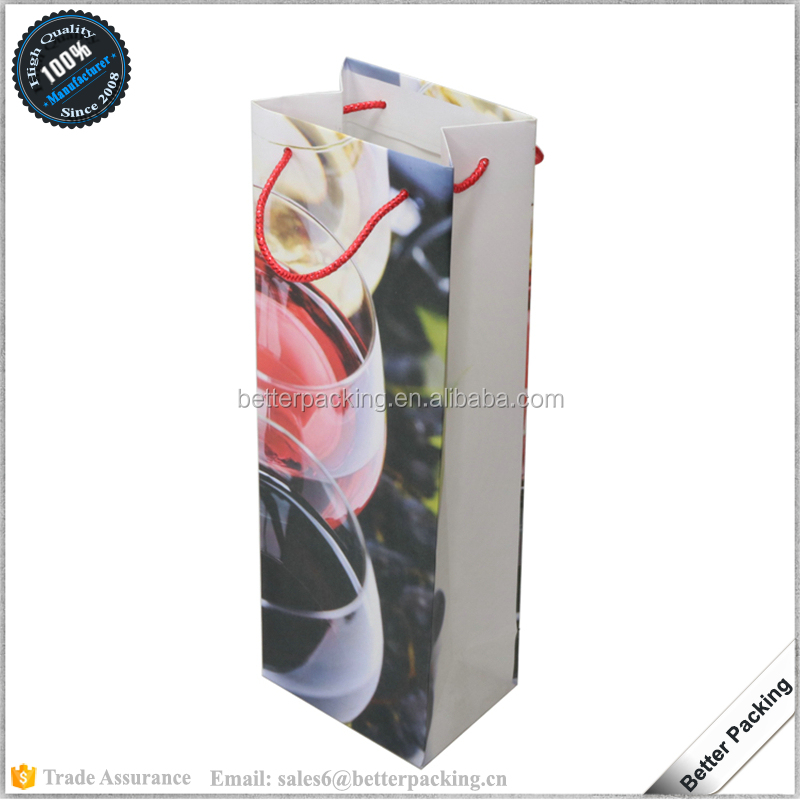 BP112 Wholesale Hot Cheap Single Glass Bottle Paper Packaging Wine Bag
