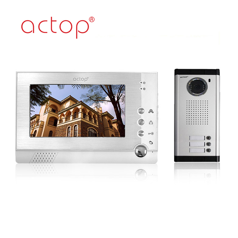 Shenzhen factory ACTOP wired video door phone for 3 apartments intercom system