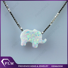 Buying 8x11mm elephant cut white color Synthetic rough opal stone price per carat with silver 925 necklace for Opal buyers