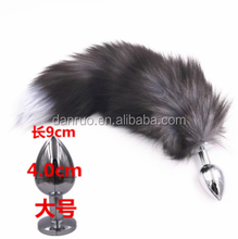 Yellow Color Rabbit Tail with Metal Anal Plug,Sex Product for Male and Female,Butt Plug with Tail