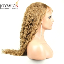 New arrival 8A grade kinky curly blonde virgin human hair lace front wig