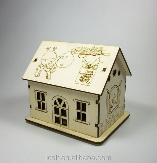 DIY educational toys puzzle house craft laser cut wood