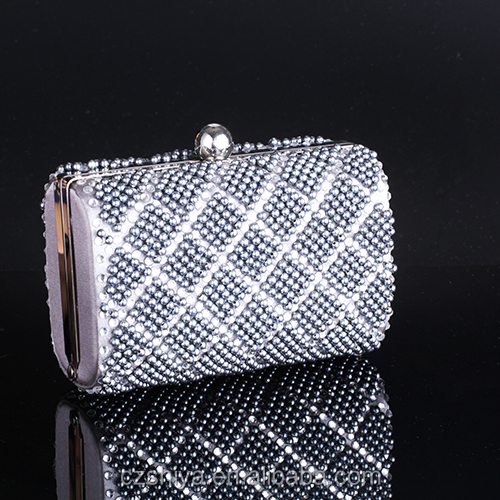 box clutch evening bags made of beads pearl in stock